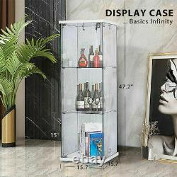 Glass Countertop Display Case Store Fixture Showcase with Front Lock 25mm MDF Base
