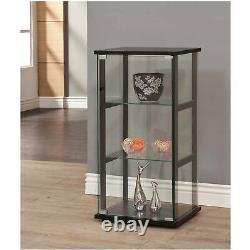 Glass Display Cabinet Case Storage Organizer Push-To-Open Door Home Room 3-Shelf