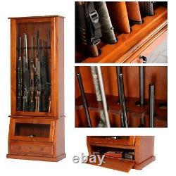 Gun Safe Cabinet 12 Rifles Solid Wood Storage Locker Shotgun Lock Shelf Rack