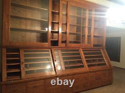 HUGE antique store display cabinet Solid Oak
