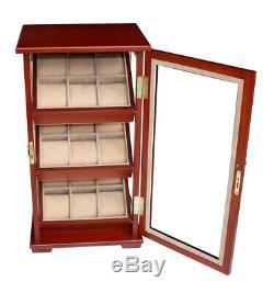 Hand Made Watch Cabinet Luxury Case Storage Display Box Jewellery Watches 24
