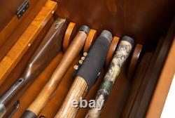 Heavy Duty Wood 5 Gun Solid Storage Bench Locking Chest Concealment Compartment