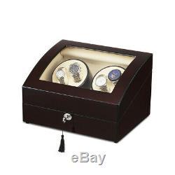 High-gloss 4+6 Automatic Watch Winder 4 Mode Timer Storage Display Case Box Key