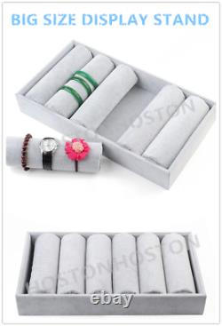Jewellery Bracelet Watch Black/Grey Velvet Display Stand Storage Case Box Tray