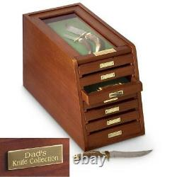 KNIVES DISPLAY CASE COINS WOOD THICK GLASS Collectors Cabinet 7 Drawer Storage