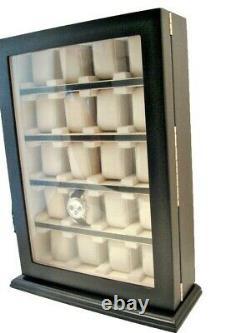 Large 20 Slot Wrist Watch Black Wood Storage Display Wall Cabinet Box Case Chest