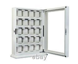 Large 20 Slot Wrist Watch White Wood Storage Display Wall Cabinet Box Case Chest