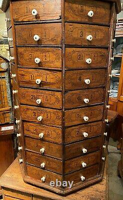 Large Hardware Store Revolving Multi-Drawer Octagonal Screw and Bolt Cabinet