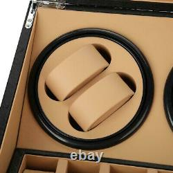 Luxury Automatic Watch Winder Display Box Case Leather Storage 4+6 Holder Black