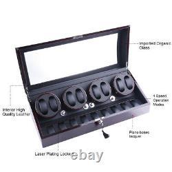 Luxury Ebony Automatic Quad Four Motor Watch Winder Display Storage Box Case 8+9