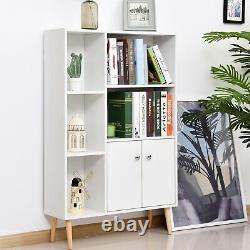 Modern Office Bookcase Elevated Wooden Storage Unit Shelves Display Case White