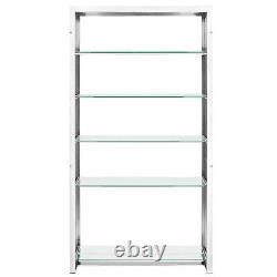 Modern Silver Stainless Steel Slat Metal Storage Bookshelf Display Case