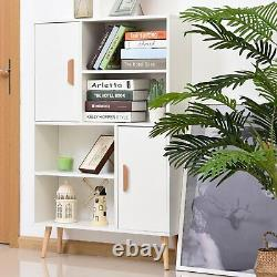 Modern Wooden Bookcase Elevated Storage Display Cabinet Shelves Cupboard White