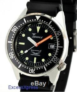 New STORE DISPLAY Squale 1521 50 Atmos Black 026 Polished Watch NO CASE ETCHING