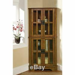 Oak Finish Wooden Corner Curio Cabinet Glass Doors Display Shelves Storage Case