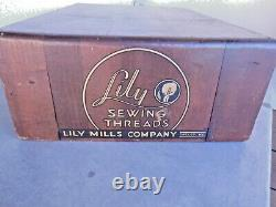 Original antique LILY SEWING THREADS Wooden store dispay cabinet-N. C