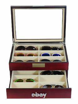 Personalized 12 Cherry Wood Eyeglass Display Case Drawer Storage Sunglass Box