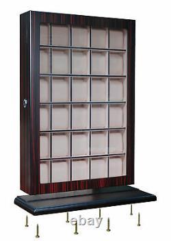Presale- 30 Watch Ebony Wood Display Wall Case Stand Storage Organizer Box Hang