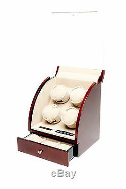 Quad 4 Watch Winder Brown Wood Storage Display Box Case Burlwood by Pangaea Q400