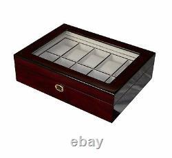 Quality Ebony Glass Watch Luxury Case Storage Display Box Jewellery Watches O