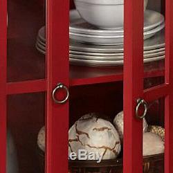 Red Display Cabinet Case Glass Doors Shelf Dining Room China Storage Organizer