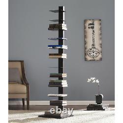 Spine Tower Shelf Basket Books Display Storage Shelves Organizer Rack BlackNew