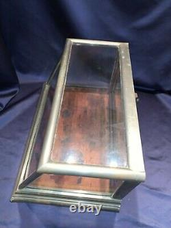 Tiny Antique Nickel Silver Countertop Showcase Angled Country Store DisplayCase