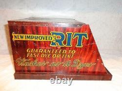 Vintage Tin Rit General Store Advertising Dye Counter Top Display Cabinet Case