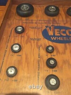 Vintage Veco Model Airplane Rubber Tire Wheel Display hobby store Display Case