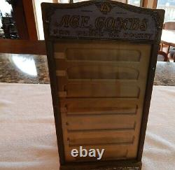 Vintage Wooden Ace Combs Store Display Case With 7 Inserts & 7 Drawers