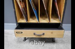 Vinyl Record Storage Tall Industrial Retro Style Cabinet Display Case Stand New