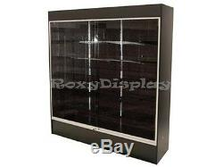Wall Black Display Show Case Retail Store Fixture with Lights Knocked down #WC6B