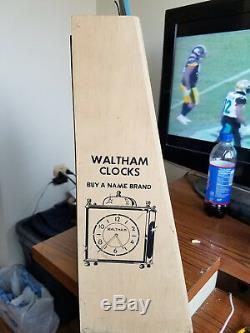 Waltham Alarm Clocks Store Display Antique Vintage Collectible Rare Wood Cabinet
