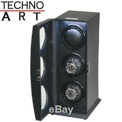 Watch Winder for 3 Watch Black Alligator Grain Leatherette Display Case Storage