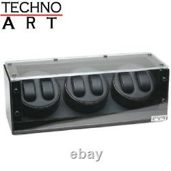Watch Winder for 6 Watches Ebony Wood Finish Display Box Case Storage NEW