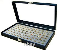 Wholesale Lot of 6 Glass Top Lid 72 Ring Grey Jewelry Display Box Storage Cases
