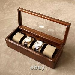 Wooden Alder Watch Case Box Display Collection 4 Slot Storage Made in Japan New