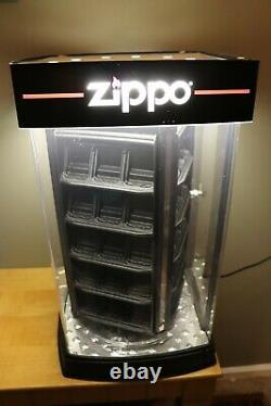 Zippo 60 Lighter Countertop Lighted and Rotating Store Display Case With Key